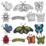 Hand drawn insects Stock Images