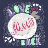 Hand drawn inspiration vintage background with the moon and lettering - I love you to the moon and back. Ready design for poster, print, greeting card Stock Photography