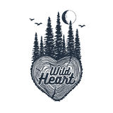 Hand drawn inspirational badge with textured forest vector illustration. Hand drawn inspirational badge with textured forest vector illustration and `Wild heart Royalty Free Stock Photo