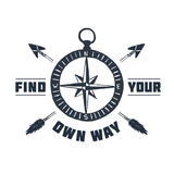 Hand drawn inspirational label with compass rose vector illustration. Hand drawn inspirational label with textured compass rose vector illustration and `Find Stock Photos