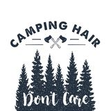 Hand drawn inspirational label. Traveling through wild nature. Hand drawn inspirational label with crossed axes and pine trees textured vector illustrations and Stock Image