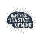 Hand drawn inspirational label with textured brain vector illustration. Hand drawn inspirational label with textured brain vector illustration and `Happiness is Stock Photo