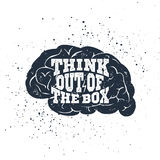 Hand drawn inspirational label with textured brain vector illustration. Stock Photography
