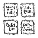 Hand drawn inspirational lettering and wooden frames Royalty Free Stock Photos