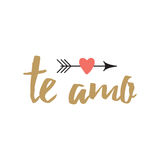 Hand drawn inspirational love quote in spanish - te amo, retro typography. Vector sign with inspirational hand drawn love quote `Te amo` in spanish decorated stock illustration