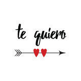 Hand drawn inspirational love quote in spanish - te quiero, retro typography Royalty Free Stock Photos