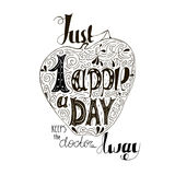 Hand drawn inspiring quote - Just one apple a day keeps the doctor away. Vector hand lettering.Ready design t-shirt, etc Stock Images