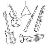 Hand-drawn instrumenten Royalty-vrije Stock Foto's