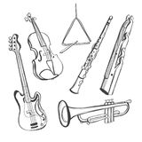 Hand-drawn instruments Royalty Free Stock Photos