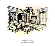 Hand drawn interior sketch. Home design. Bedroom Provence style Royalty Free Stock Photo