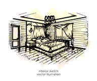 Hand drawn interior sketch. Home design. Bedroom Provence style Royalty Free Stock Image