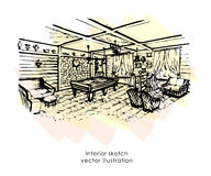 Hand drawn interior sketch. Home design. billiard zone Provence style Royalty Free Stock Photo