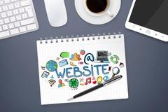 Hand drawn internet presentation on office background Stock Photos