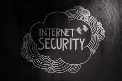 Hand drawn internet security. On dark texture background as concept Stock Photo