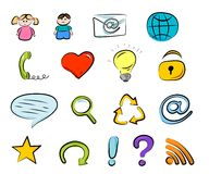 Hand drawn internet and web icons Royalty Free Stock Images