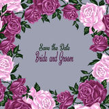 Hand drawn invitation cards with flowers roses Stock Photos