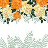 Hand drawn invitation cards with flowers yellow roses on a white background Royalty Free Stock Photos