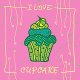 Hand drawn invitationfor card  with cupcakes,  Best for party cafe or restaurant Stock Image