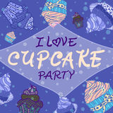 Hand drawn invitationfor card  with cupcakes,  Best for party cafe or restaurant Stock Photos
