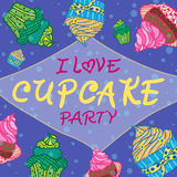 Hand drawn invitationfor card  with cupcakes,  Best for party cafe or restaurant Stock Photography