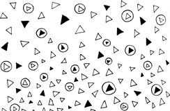 Hand drawn irregular chaotic abstract black dots and triangle on white background. stock illustration