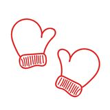 Hand drawn isoladed red warm mittens Stock Photos