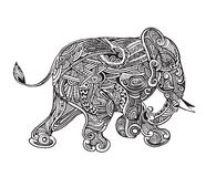 Hand drawn isolated ethnic elephants Stock Image