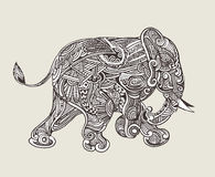 Hand drawn isolated ethnic elephants Stock Images