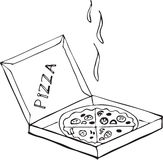 Hand drawn isolated pizza on the box on a white background. Royalty Free Stock Photography
