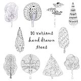 Hand drawn isolated, sketch, doodle trees set Royalty Free Stock Photography