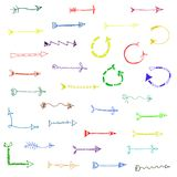 Hand-drawn isolated sketchy arrows colored - vector illustration. Hand-drawn isolated sketchy arrows colored - vector illustration for advertising and business Royalty Free Stock Image