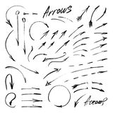 Hand-drawn isolated sketchy arrows set Stock Photography