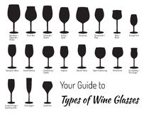 Hand drawn isolated wine glasses Stock Photography
