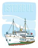 Hand drawn istanbul ferry. Vector Royalty Free Stock Images