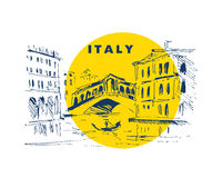 Hand drawn Italy city scape sketch. Royalty Free Stock Photo