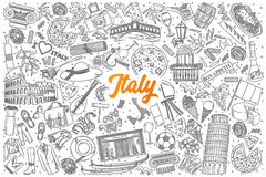Hand drawn Italy doodle set with lettering Royalty Free Stock Photo