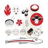 Hand drawn Japan and Asia design elements collection vector illustration