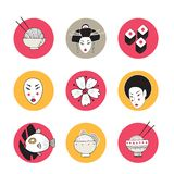 Hand drawn Japan and Asia design icons collection royalty free illustration