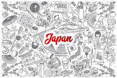Hand drawn Japan doodle set with lettering. Hand drawn Japan doodle set background with red lettering in vector Royalty Free Stock Photography