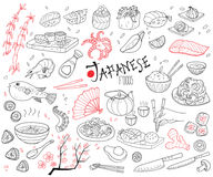 Hand Drawn Japanese Cuisine Elements Set. With traditional dishes drinks bamboo cutlery sakura sauce chopsticks isolated vector illustration Royalty Free Stock Photography