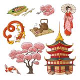 Hand drawn Japanese culture elements, symbols. Set of Japanese culture elements - geisha, sakura, koi, sushi, pagoda, tea, dragon, hand drawn vector illustration Stock Photos