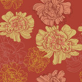 Hand drawn japanese style botanical  seamless pattern Royalty Free Stock Photography
