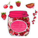 Hand drawn jar with homemade berry jam and. Hand drawn jar with berry jam and isolated berries cherry, currant, strawberry and raspberry. Set of vector Royalty Free Stock Images