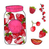 Hand drawn jar with homemade strawberry jam and Royalty Free Stock Photo
