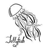 Hand drawn jellyfish with lettering isolated Stock Photo