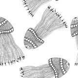 Hand drawn jellyfish made of simple doodles. Hand drawn vector illustration. Monochrome cartoon seamless pattern. Hand drawn jellyfish made of simple doodles royalty free illustration