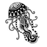 Hand drawn jellyfish zentangle style for coloring book, shirt design or tattoo Stock Images