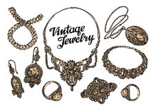 Hand-drawn jewelry set. Gold and gems. Sketch vector illustration Royalty Free Stock Photo