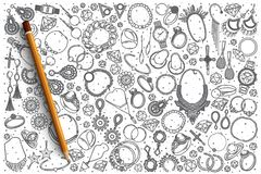 Hand drawn Jewelry vector doodle set. Background Stock Photography