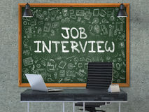 Hand Drawn Job Interview on Office Chalkboard. Royalty Free Stock Photo